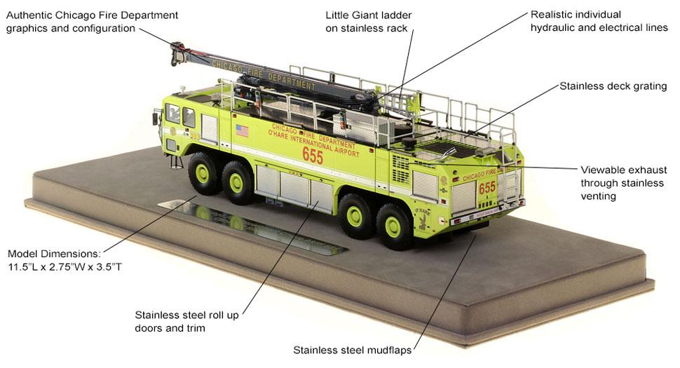 Chicago O'Hare Crash Truck 655 scale model specs