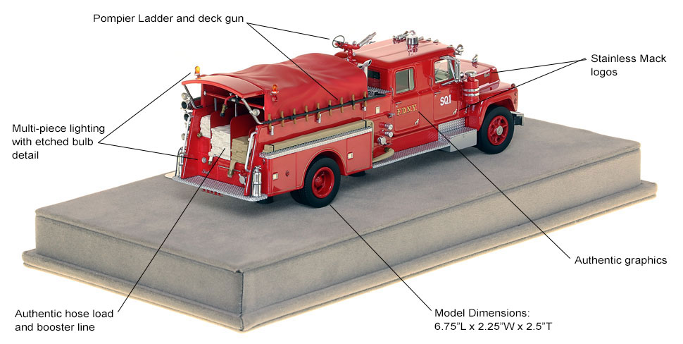 Specs and features of FDNY's 1969 Mack R Squad 1 scale model