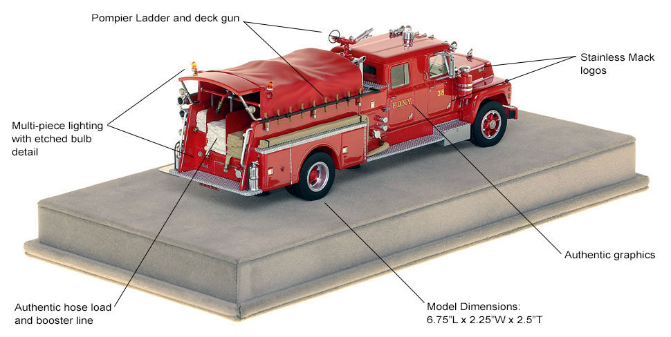 Features and specs of FDNY's 1969 Mack R Engine 38 scale model