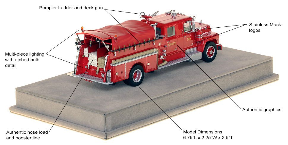 Features and specs of FDNY's 1969 Mack R Engine 209 scale model