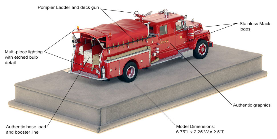 Specs and features of FDNY's 1969 Mack R Engine 91-2 scale model