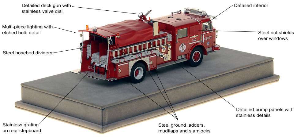 Specs and features of FDNY's 1980 American LaFrance Engine 160 scale model