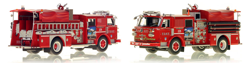 FDNY's 1980 Engine 225 scale model is hand-crafted and intricately detailed.