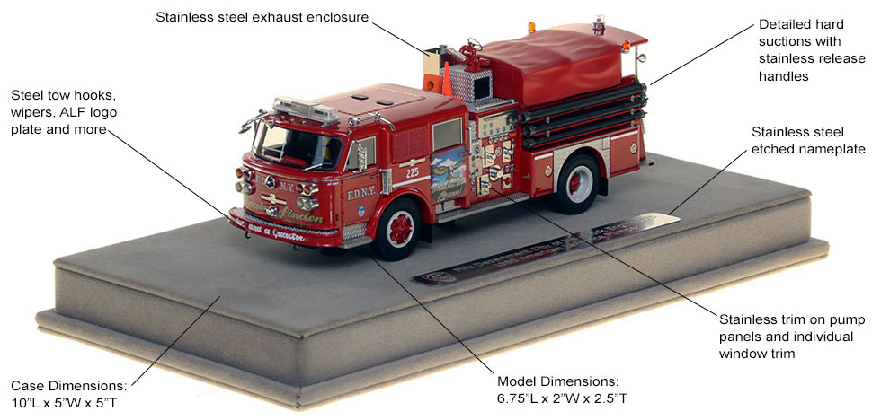Features and Specs of FDNY's 1980 American LaFrance Engine 225 scale model