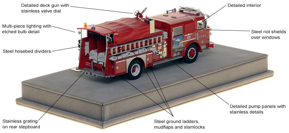 Specs and features of FDNY's 1980 American LaFrance Engine 225 scale model