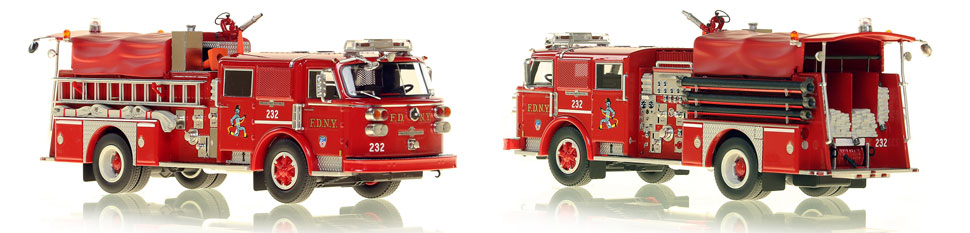 FDNY's 1980 Engine 232 scale model is hand-crafted and intricately detailed.