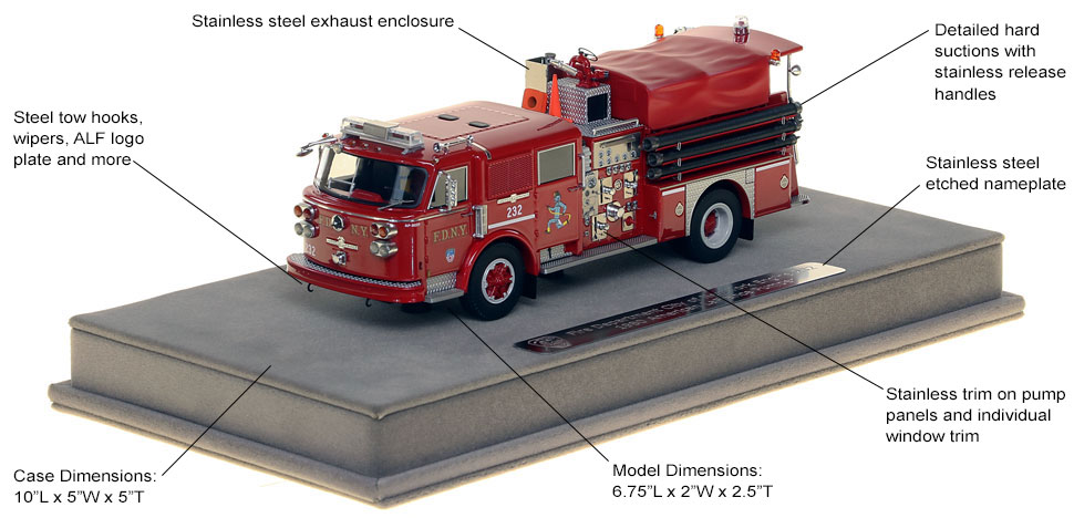 Features and Specs of FDNY's 1980 American LaFrance Engine 232 scale model
