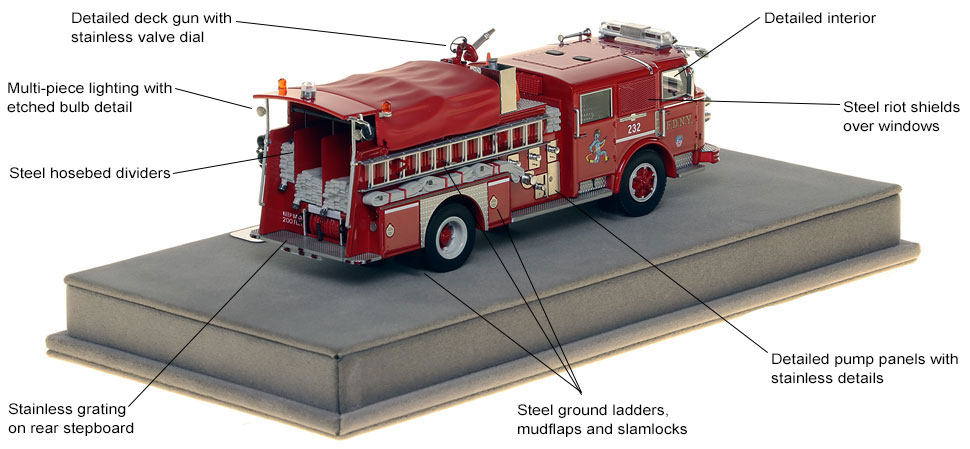 Specs and features of FDNY's 1980 American LaFrance Engine 232 scale model