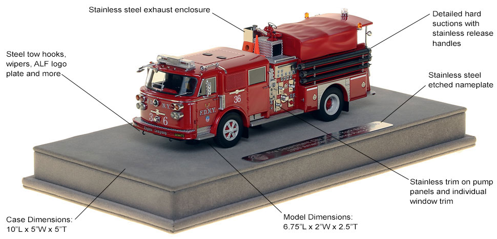 Features and Specs of FDNY's 1980 American LaFrance Engine 36 scale model