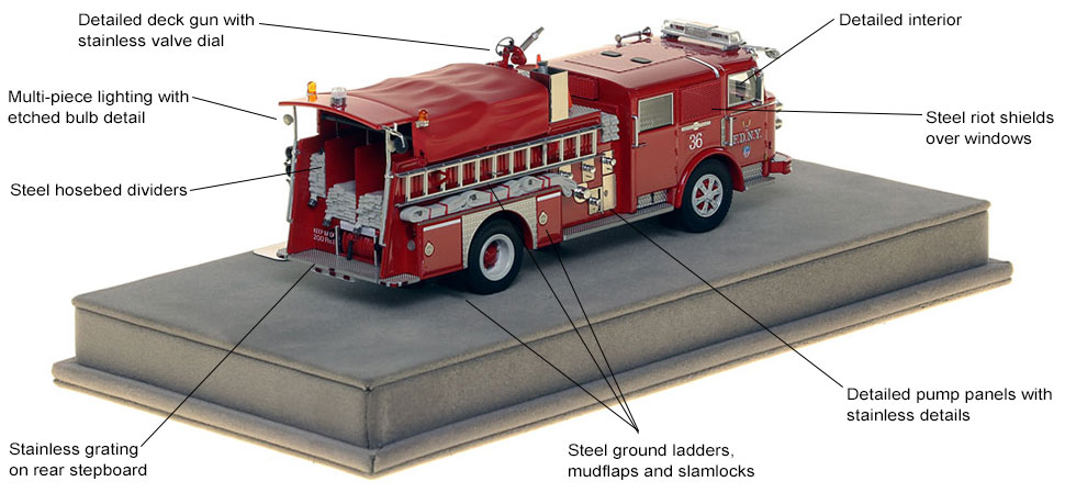 Specs and features of FDNY's 1980 American LaFrance Engine 36 scale model