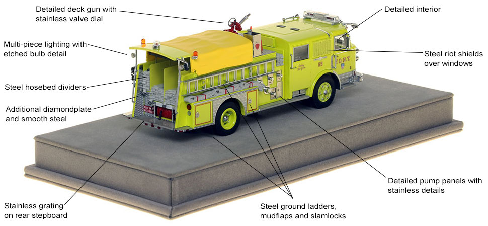 Specs and features of FDNY's 1980 American LaFrance Engine 65 scale model