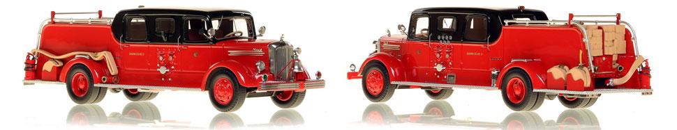 The very first museum grade replicas of Chicago's 1948 Mack L Sedan Cab Pumper