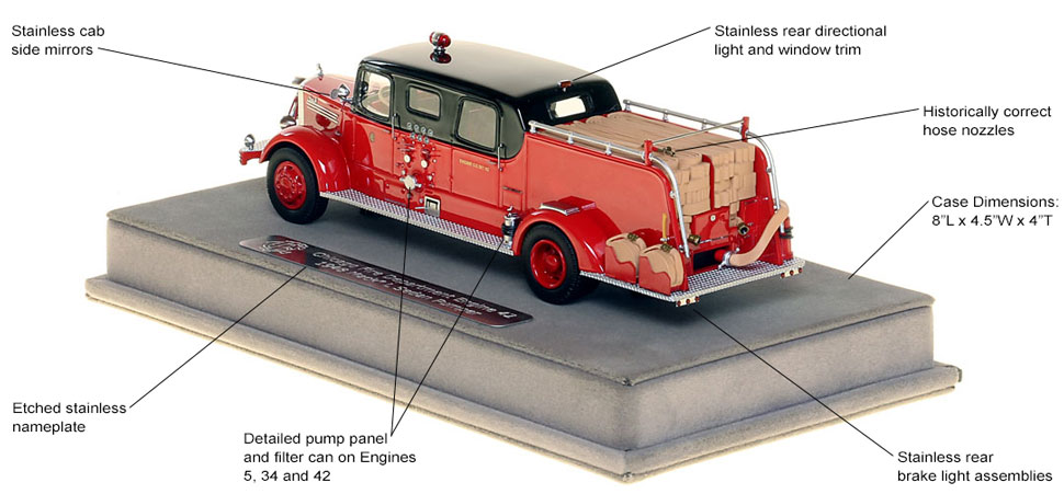 Features and specs of the 1948 CFD Mack L Sedan Cab Pumpers