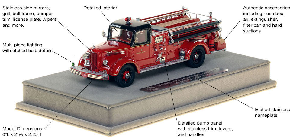 Features and specs of the 1949 CFD Mack L Coupe Cab Engine 25