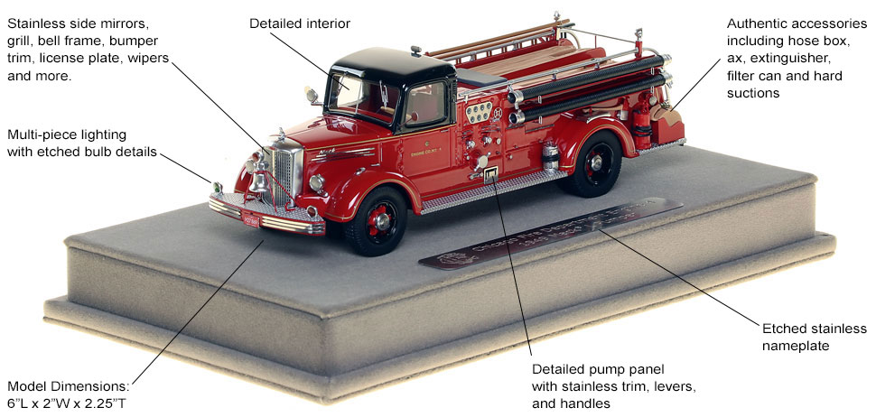 Features and specs of the 1949 CFD Mack L Coupe Cab Engine 4
