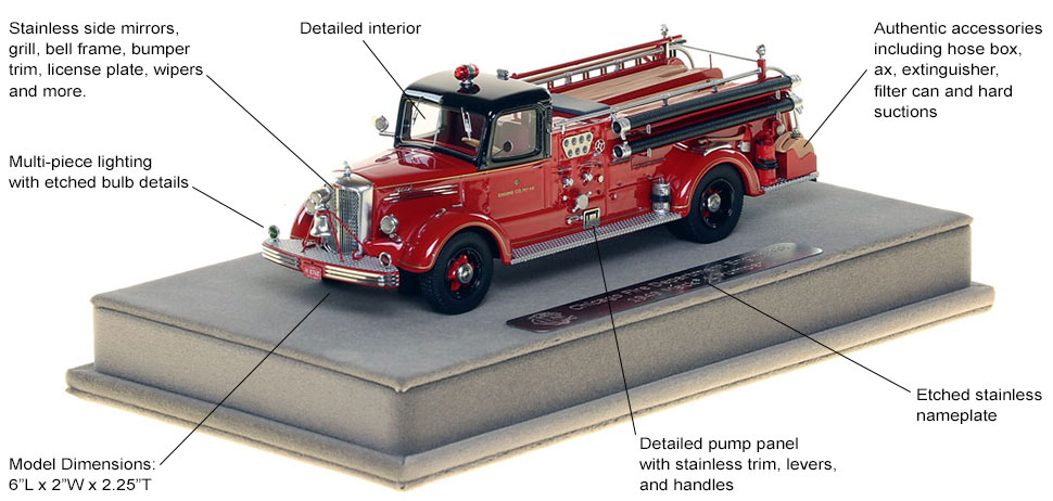 Features and specs of the 1949 CFD Mack L Coupe Cab Engine 68