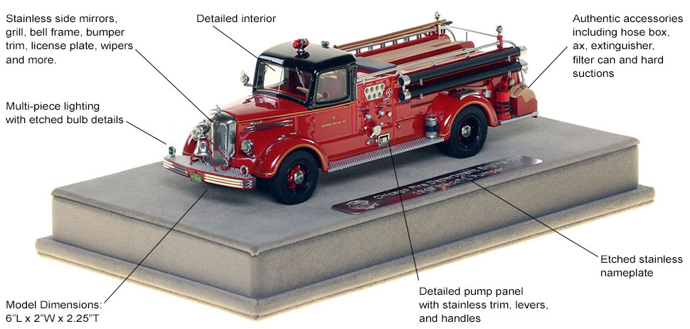 Features and specs of the 1949 CFD Mack L Coupe Cab Engine 83