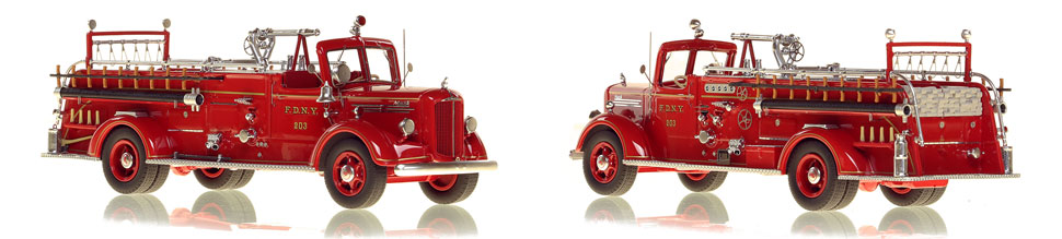 FDNY's 1947 Mack L Engine 203 scale model is hand-crafted and intricately detailed.
