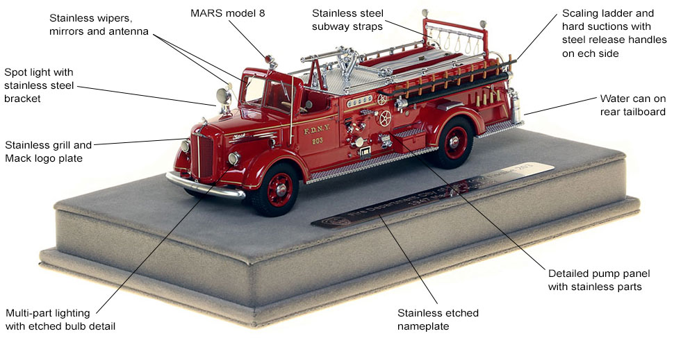 Features and Specs of FDNY's 1947 Mack L Engine 203 scale model