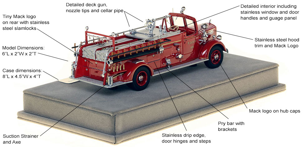 Specs and features of FDNY's 1947 Mack L Engine 203 scale model
