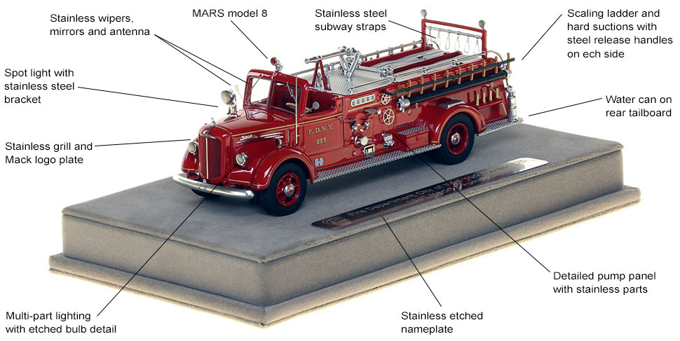 Features and Specs of FDNY's 1947 Mack L Engine 225 scale model