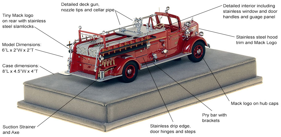 Specs and features of FDNY's 1947 Mack L Engine 225 scale model