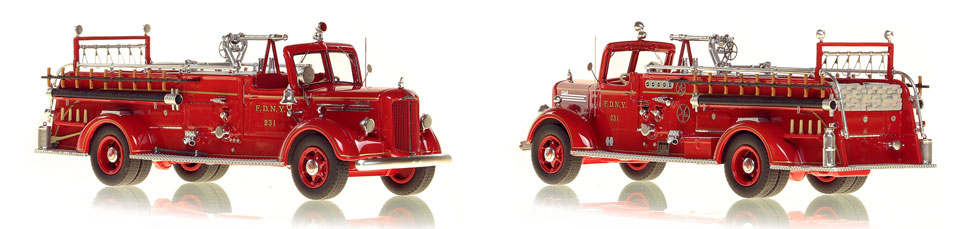 FDNY's 1947 Mack L Engine 231 scale model is hand-crafted and intricately detailed.