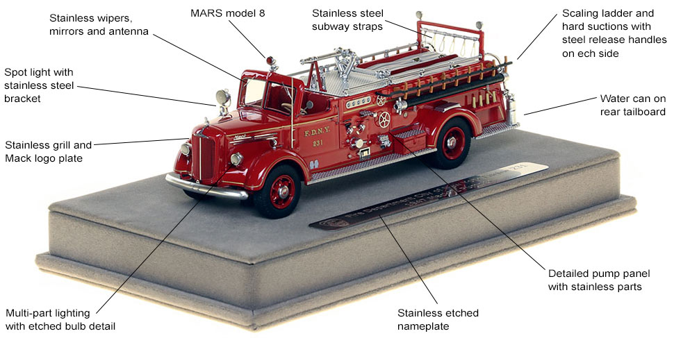 Features and Specs of FDNY's 1947 Mack L Engine 231 scale model