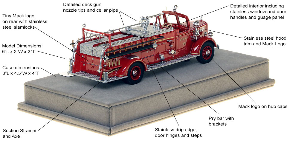 Specs and features of FDNY's 1947 Mack L Engine 231 scale model
