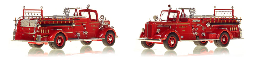 FDNY's 1947 Mack L Engine 289 scale model is hand-crafted and intricately detailed.