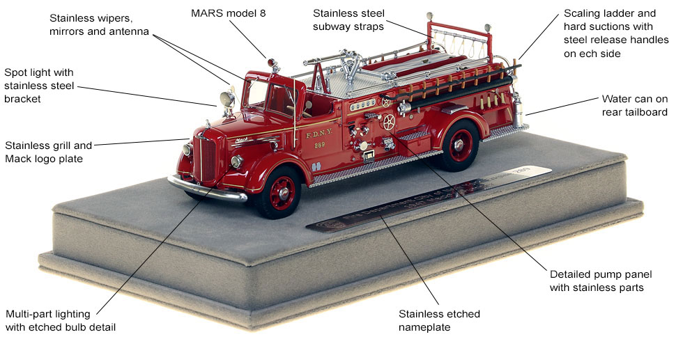Features and Specs of FDNY's 1947 Mack L Engine 289 scale model