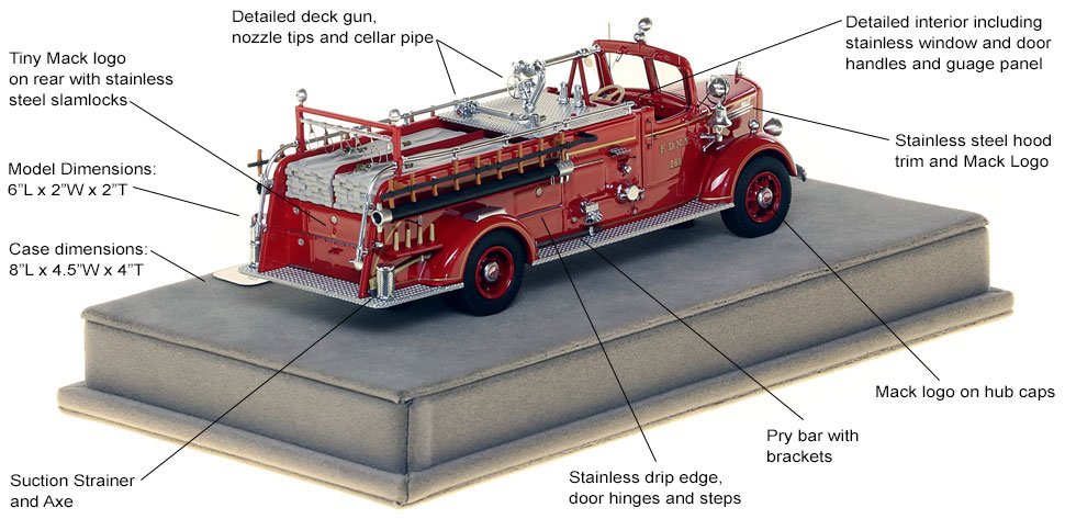Specs and features of FDNY's 1947 Mack L Engine 289 scale model