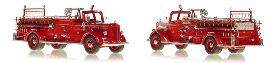 FDNY's 1947 Mack L Engine 38 scale model is hand-crafted and intricately detailed.