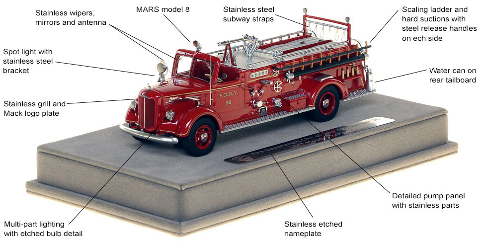 Features and Specs of FDNY's 1947 Mack L Engine 38 scale model