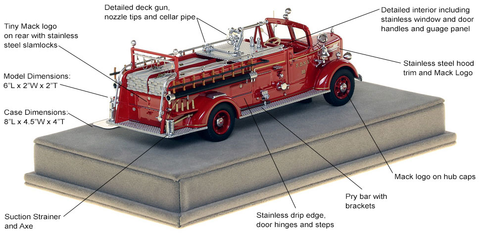 Specs and features of FDNY's 1947 Mack L Engine 38 scale model