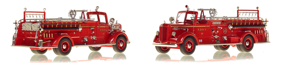 FDNY's 1947 Mack L Engine 44 scale model is hand-crafted and intricately detailed.