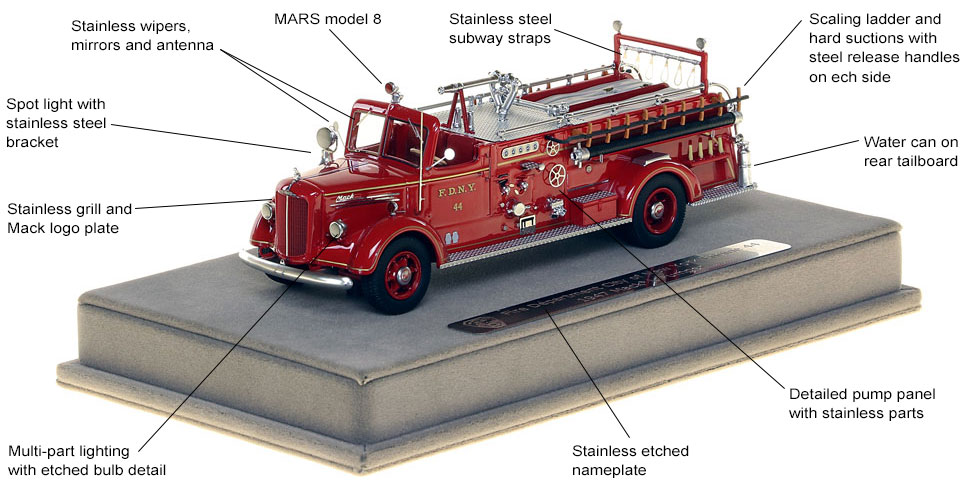 Features and Specs of FDNY's 1947 Mack L Engine 44 scale model