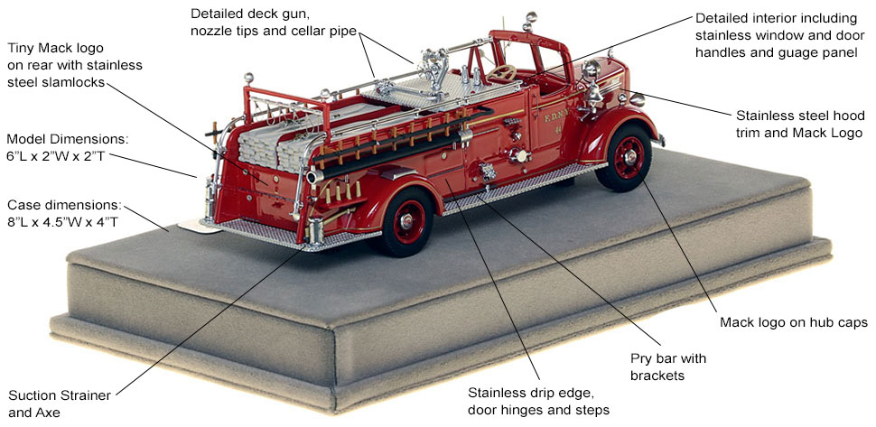 Specs and features of FDNY's 1947 Mack L Engine 44 scale model