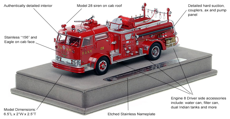 Features and Specs of FDNY's 1958 Mack C Engine 156 scale model