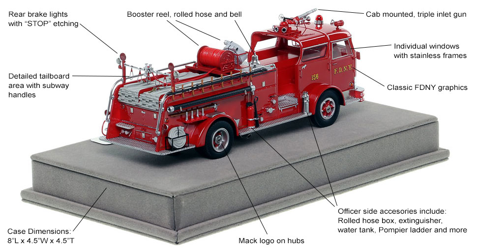 Specs and Features of FDNY's 1958 Mack C Engine 156 scale model