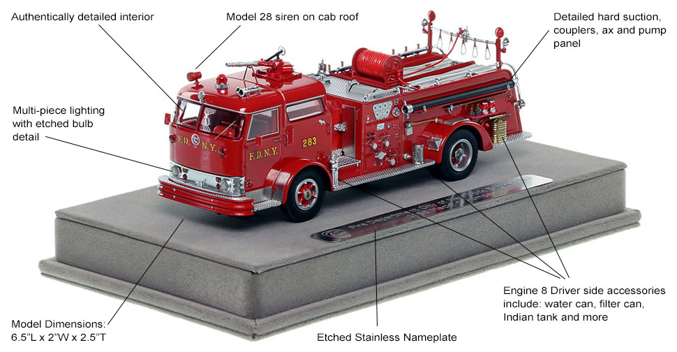 Features and Specs of FDNY's 1958 Mack C Engine 283 scale model