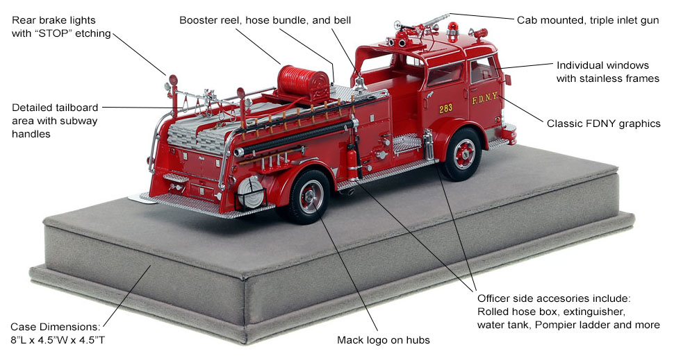 Specs and Features of FDNY's 1958 Mack C Engine 283 scale model