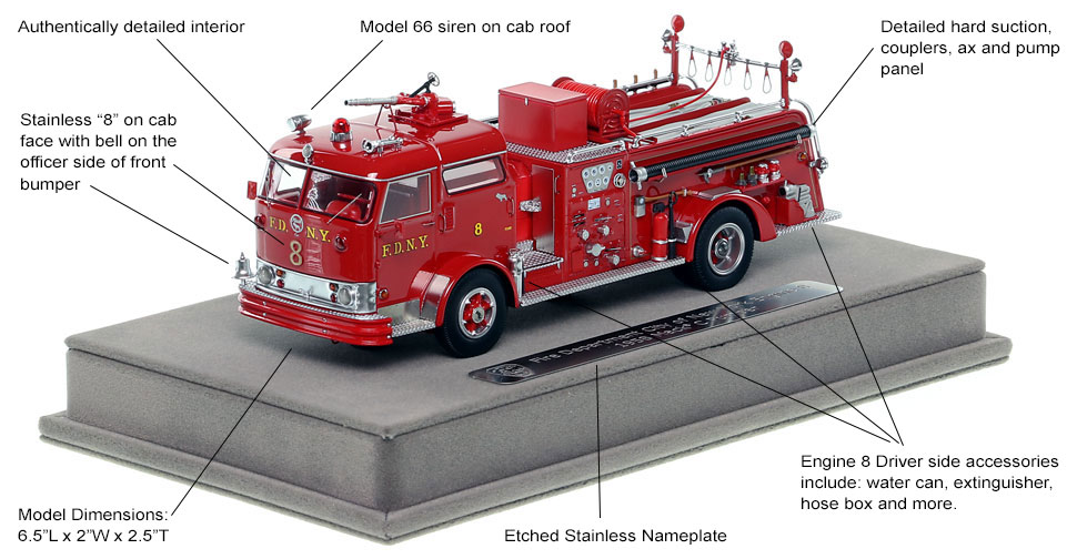 Features and Specs of FDNY's 1958 Mack C Engine 8 scale model
