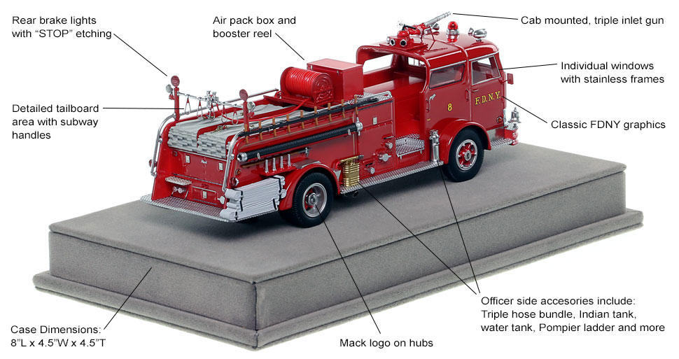 Specs and Features of FDNY's 1958 Mack C Engine 8 scale model