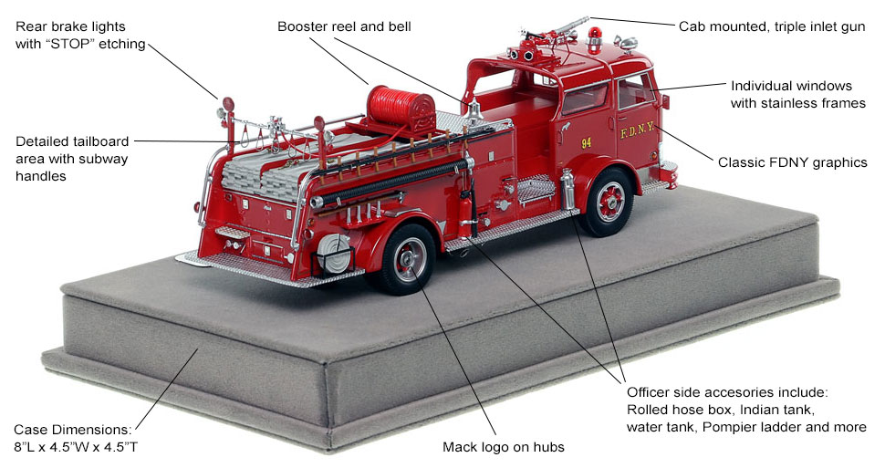 Specs and Features of FDNY's 1958 Mack C Engine 94 scale model