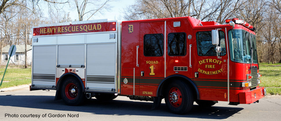 Detroit Fire Department Heavy Rescue Squad 1 courtesy of Gordon Nord