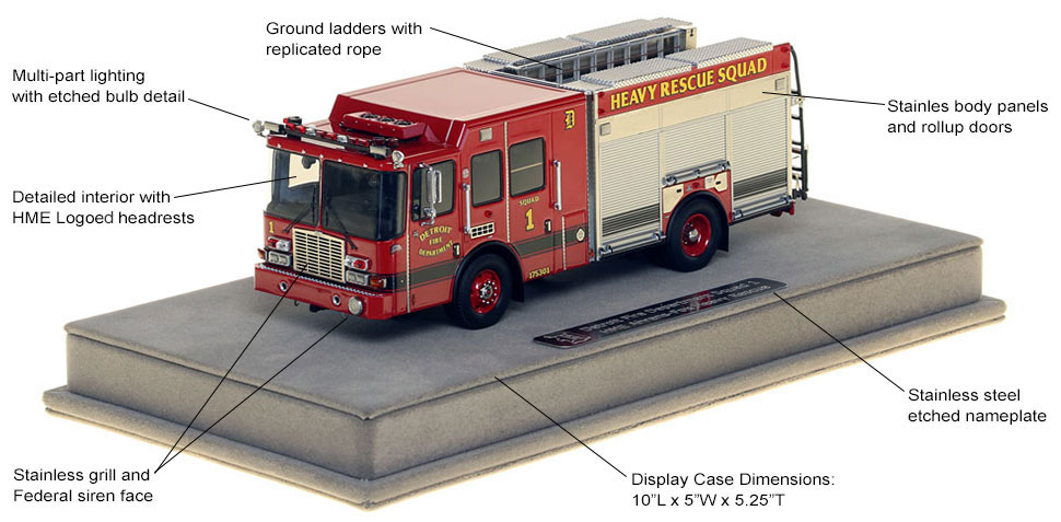 Features and Specs of Detroit Heavy Rescue Squad 1 scale model