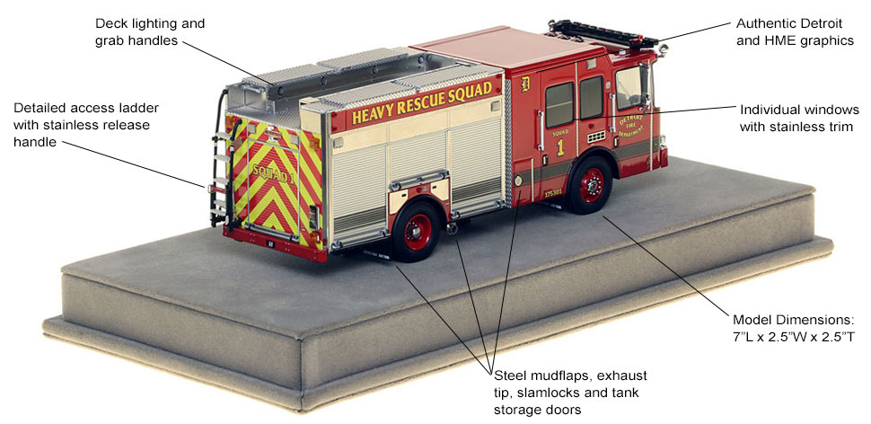 Specs and features of Detroit Heavy Rescue 1 scale model