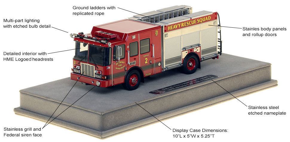 Features and Specs of Detroit Heavy Rescue Squad 2 scale model