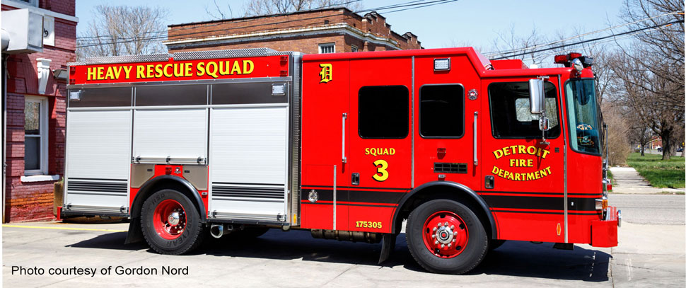 Detroit Fire Department Heavy Rescue Squad 3 courtesy of Gordon Nord